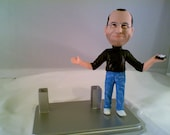 Steve Jobs Figurine Business Card Holder - Handmade ( Free Steve Jobs Biography Book)