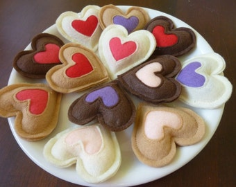 Valentine Heart Cookies (Dozen) - Felt Play Food