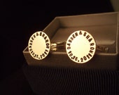 Cufflinks, Sterling Silver, Hand Stamped,  Personalized Engraving Message on the toggle back