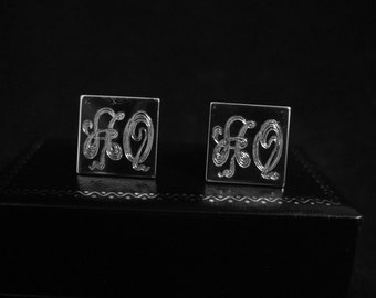 Silver Cufflinks, Hand Engraved, Sterling Silver, Custom, Cufflinks Monograms or your initials