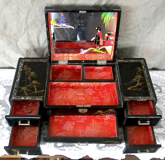 Antique Japanese Black Lacquer Jewelry Box By