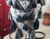 Blue and white tassel belt