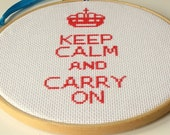 Keep Calm and Carry On Counted Cross Stitch DIY Kit