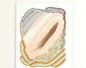 tapestry - textile wall hanging art - spotted feather Aztec inspired in salmon pink / white / grey / cream / gold / brown / tan