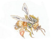 Bee painting - original watercolor style painting