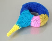 textile cuff bracelet - spike studded - blue / indigo / hot pink / chartreuse
