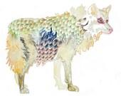 PRINT of original wolf painting - watercolor - grey / tan / sienna brown / dark blue