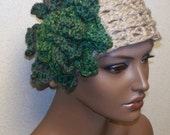 Diva Flapper Headband Earwarmer with Blooming Rose Flower in Taupe and Moss Green