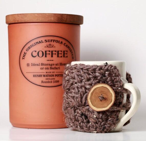 Barley Light Brown Tweed Taupe Marble Wool Coffee Mug Cozy Travel Mug Sleeve with Gorgeous Wood Tree Branch Button