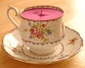 Teacup Candle - Vintage Royal Albert Petit Point Fine Bone China Soy Wax Tea Cup Candle - your choice scent
