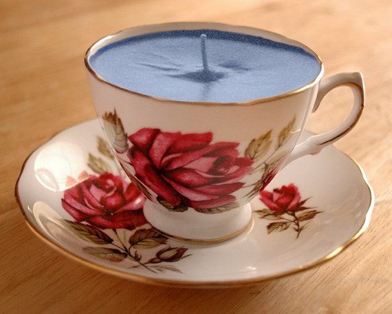 Teacup Candle - Queen Anne China Dark Pink Rose Bone China Soy Wax Tea Cup Candle - your choice scent