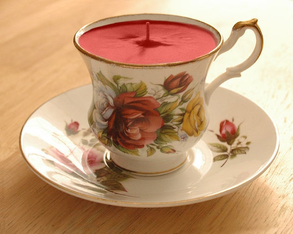 Teacup Candle - Royal Minster China Roses Bone China Soy Wax Tea Cup Candle - your choice scent