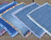 Upcycled Denim Potholders with Frayed Edges. Recycle.Reclaim.Upcycle. Eco Friendly. Set of Five.