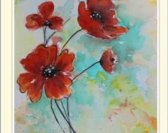 Poppies - Original Watercolor Painting