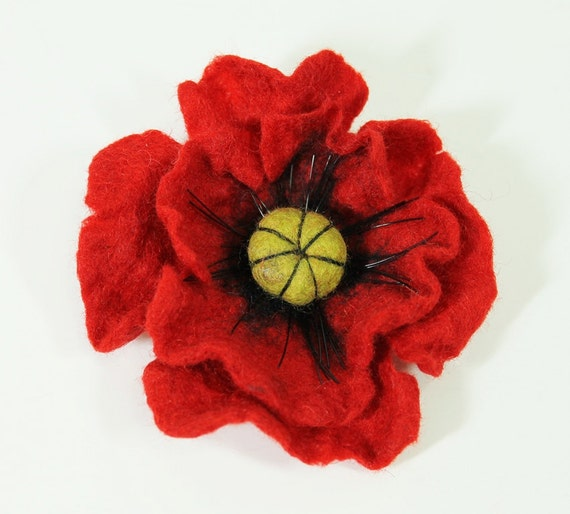 Felted Poppy Brooch- Shipping Next Business Day