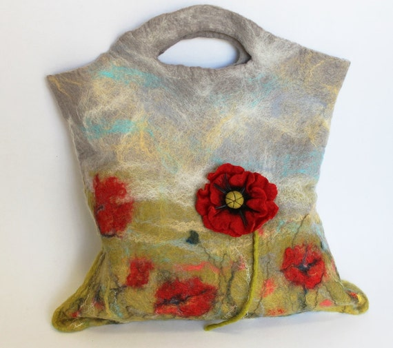 Reserved for Sherry- Felted Handbag With a Poppy Brooch