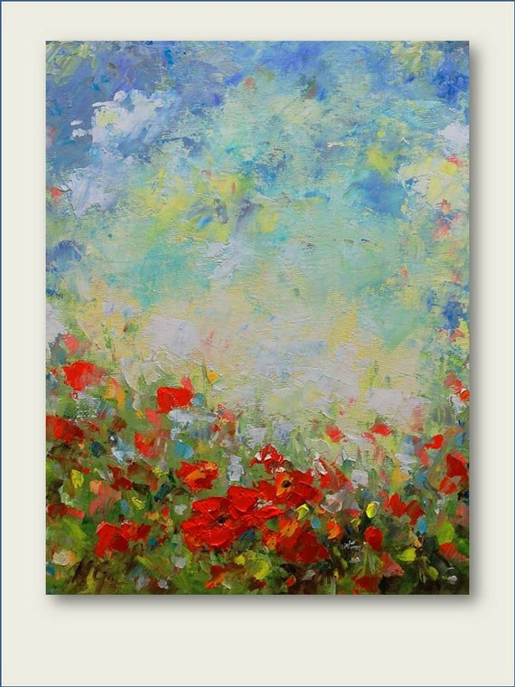 Reserved for Robin- Poppy Field- Original Oil Painting  MADE TO ORDER 16x20