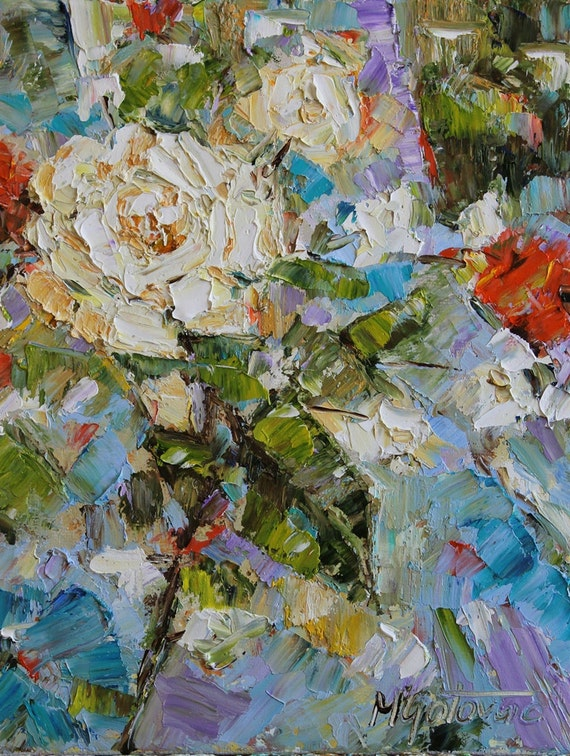 Reserved for Tricia- Original Oil Painting- White Roses- REDUCED PRICE