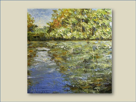 "Reflection on The Lake- Original Oil Painting 12""x12"""