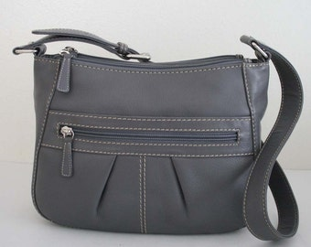 Genuine Leather Shoulder bag, Side bag, 3 compartments, Rare, Vintage 1990