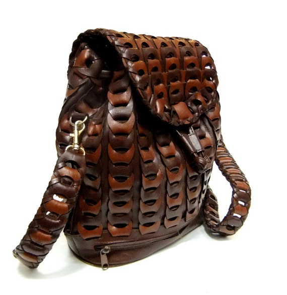 Vintage Woven Two-Toned Brown Cross Body Pouch Purse