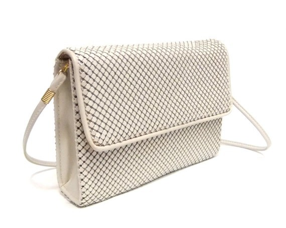Reserved......LETS MAKE A DEAL  Vintage Ivory Whiting and Davis Metal Mesh Clutch with Strap
