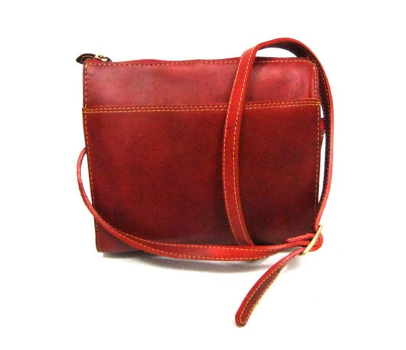 Vintage Classic Red Leather Cross Body Purse