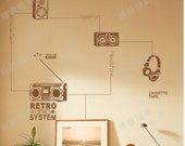 large Wall Decor Decal Sticker Removable Vinyl stereo