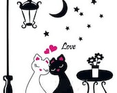 large Wall Decor Decal Sticker removable Vinyl cats 002