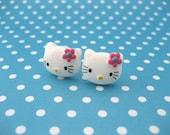 Hello Kitty Like Earrings, 15mm Kitties, Cat Ear Posts