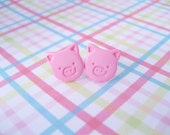 Pink Pig Stud Earrings