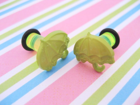 2g 2 gauge Plug Earrings for Stretched Ear Lobes - Acid Rain - Lime Green Umbrellas