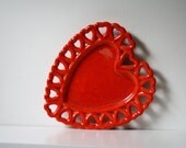 heart on a platter - red orange speckle ceramic dish