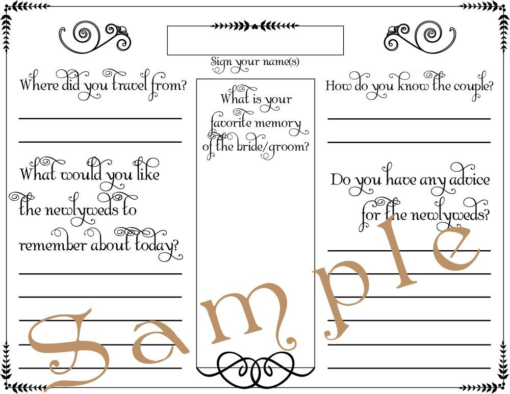 wedding guest book posters or canvas prints personalized