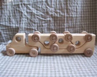 durable Wooden Puzzle Toy Truck semi car hauler handmade child toddler boy safe
