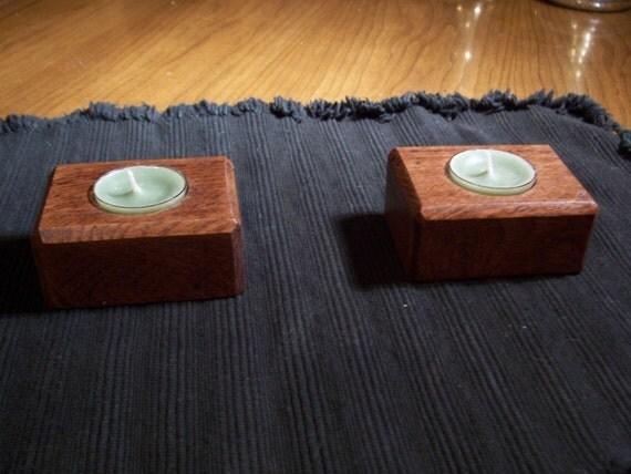 Pair of Tea Light Candle Holders oak decor dinning table living room nice 2