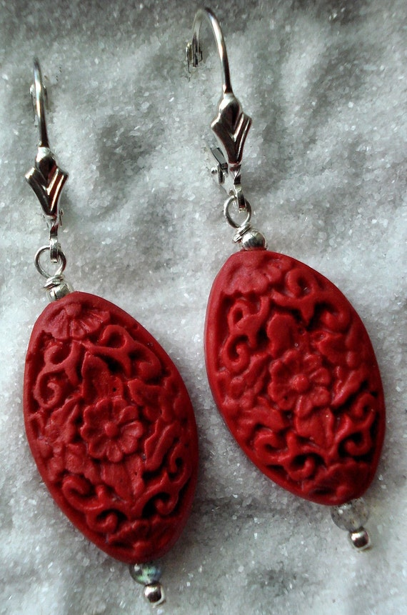 Zinjafr carved floral cinnabar with labradorite and silver dangle earrings
