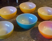 Vintage Rainbow of Color Teal Green Yellow Orange Fire King Retro Set of 6 Glass Chili Footed Cereal Bowls