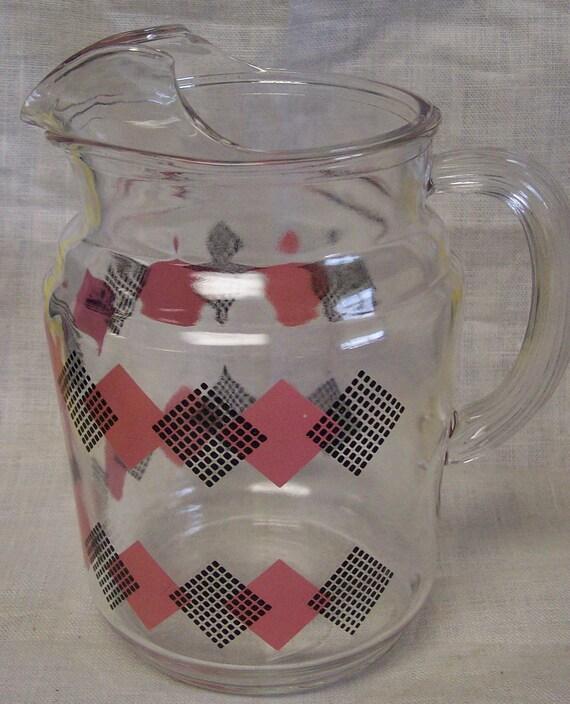 Vintage Pink Black Diamond Glass Pitcher