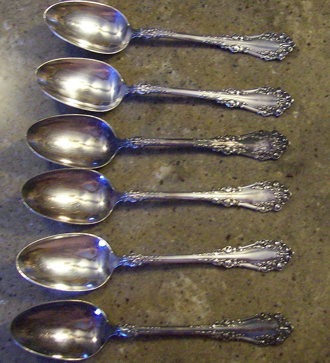 Antique 1847 Rogers Bros Silverplate Flatware 6 Serving Spoons