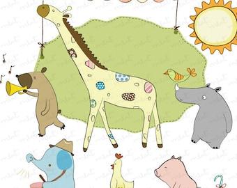 50% OFF SALE Animal Circus Digital clip art set 2 for scrapbooking , invitation card