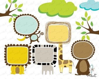 50% OFF SALE A Little Fun Animal Frame Clipart Kits for scrapbooking , invitation , card