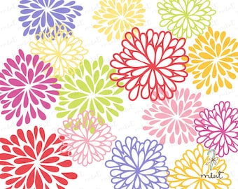 50% OFF SALE 14 Blooming Flowers Digital Clipart for scrapbooking, invitation, card
