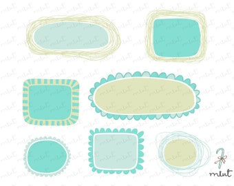 50% OFF SALE Digital Hand Drawn Frames Clipart for digital scrapbooking, frame, tag, lable, invitation, stationery
