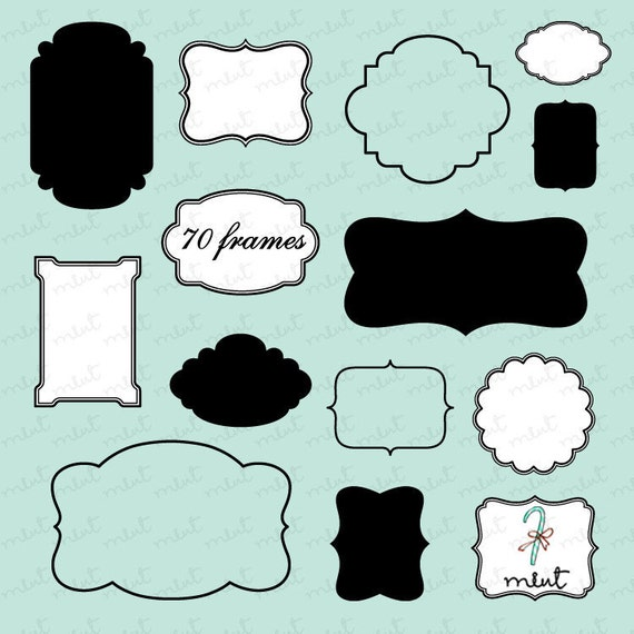 70 Digital Frames Clipart Kit for digital scrapbooking, frame, tag, lable, invitation, stationery - BUY 1 GET 1 FREE
