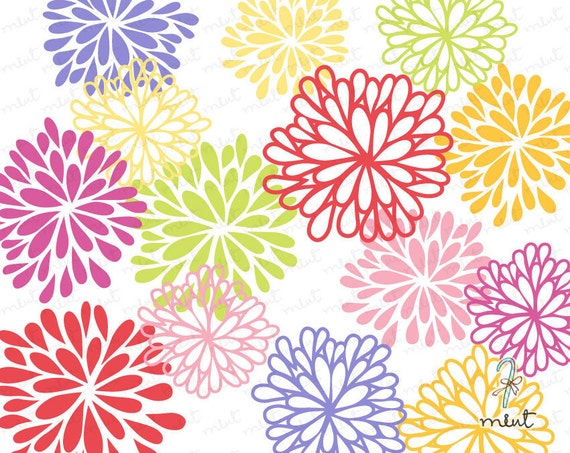 50 OFF SALE 14 Blooming Flowers Digital Clipart For Scrapbooking Invitation Card