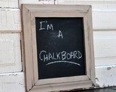 Distressed Chalkboard in Off White Frame