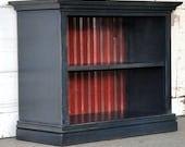 Children's Bookshelf in Navy Blue and Barn Red