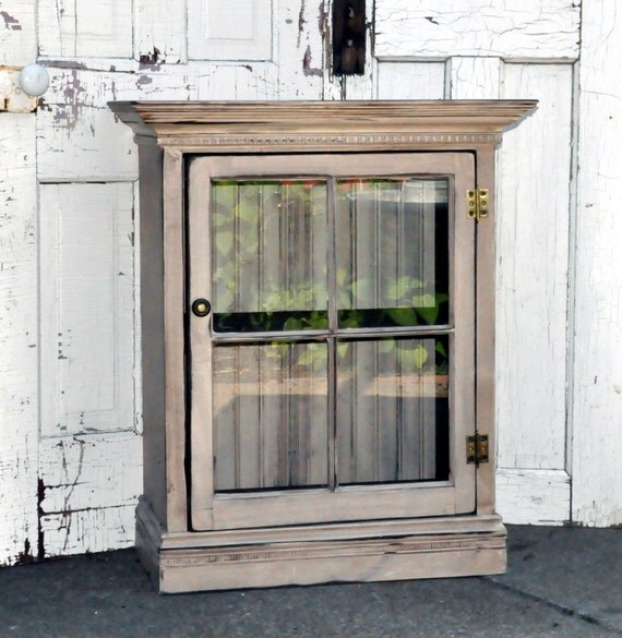 Distressed Kitchen Cabinet Doors: Items Similar To Distressed Cabinet With Glass Door On Etsy