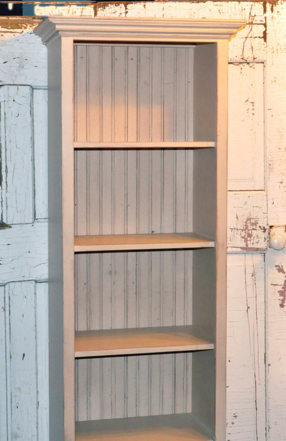 Items Similar To Tall Bookcase In Distressed Off White On Etsy